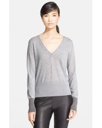 Rag & Bone | Gray 'jessica' Merino Wool V-neck Sweater | Lyst