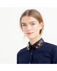 J.Crew Blue Collection Perfect Shirt With Embellished Collar