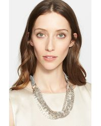 Fabiana Filippi - Gray Beaded Multistrand & Leather Necklace - Metal Slate - Lyst