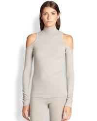 Donna Karan | Gray Cold-shoulder Turtleneck Sweater | Lyst