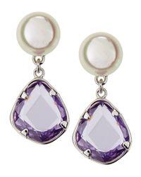 Majorica | Purple Faux-pearl Crystal Dangle Earrings | Lyst