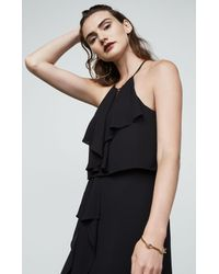 BCBGMAXAZRIA Black Bcbg Jansia Ruffled Halter Gown