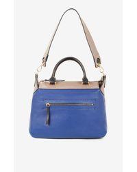 BCBGMAXAZRIA Blue Mariele Color-blocked Leather Satchel