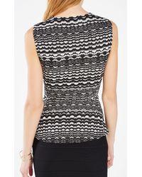BCBGMAXAZRIA - Multicolor Maribella Striped Knit Jacquard Peplum Top - Lyst