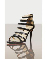 BCBGMAXAZRIA   Black Polina High-heel Python Print Strappy Sandal   Lyst