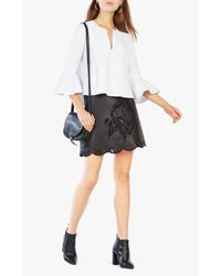 BCBGMAXAZRIA | Black Jenhifer Embroidered Faux-leather Miniskirt | Lyst