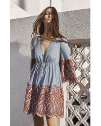BCBGMAXAZRIA Blue Tildah Eyelet Embroidered Peasant Dress