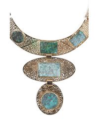BCBGMAXAZRIA - Multicolor Natural Stone Filigree Necklace - Lyst