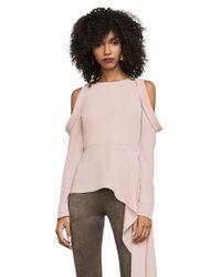 BCBGMAXAZRIA - Pink Este Cold-shoulder Peplum Top - Lyst