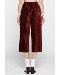 BCBGeneration | Red Plissé Velvet Gaucho Pants | Lyst