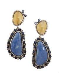 Amrapali - Diamond And Blue And Yellow Aquamarine Drop Earrings - Lyst