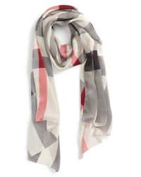 Burberry | Red Check Print Silk Scarf | Lyst