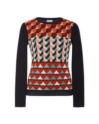 RED Valentino Black Geometric Heart Printed Sweater