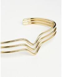 ASOS | Metallic Gold Plated Brass Triangle Bar Cuff Bracelet | Lyst