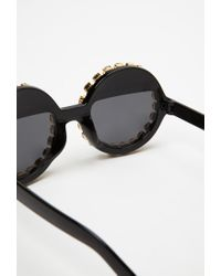 Forever 21 Black Rad And Refined Bejeweled Round Sunglasses