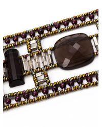 Ziio Gray Murano Glass Beaded Bracelet