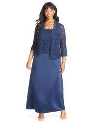 Alex Evenings - Blue Scallop Lace Gown & Jacket - Lyst