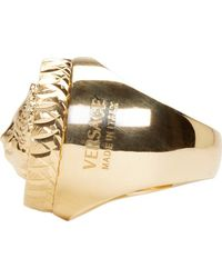 Versus - Metallic Gold Lion Crest Ring - Lyst