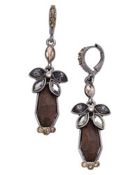 Givenchy | Brown Crystal & Wood Drop Earrings | Lyst