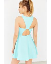 Kimchi Blue Green Textured Knit V-neck Skater Dress