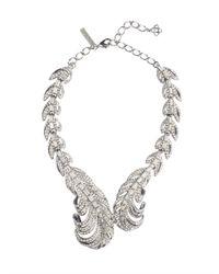 Oscar de la Renta | Metallic Swarovski Crystal Feather Necklace | Lyst