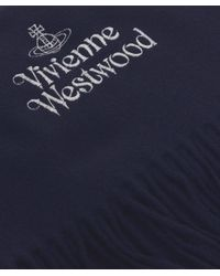 Vivienne Westwood - Blue Bronze Logo Wool Scarf for Men - Lyst
