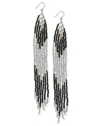 Lucky Brand | Metallic Two-tone Black Linear Beaded Earrings | Lyst