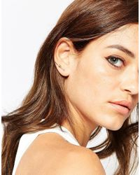 ASOS - Metallic Gold Plated Brass Two Pack Fine Knot Ear Wires - Lyst