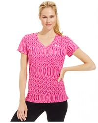 Under Armour | Pink Ua Twist Tech™ Printed V-neck | Lyst