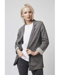 TOPSHOP | Gray Stripe Twill Utility Pocket Boyfriend Jacket | Lyst