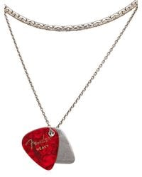 Laura B - Red Guitar Pick Charms Brass & Silver Chain - Lyst