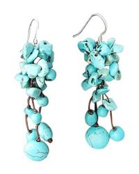 Aeravida | Blue Cluster Drop Turquoise .925 Silver Earrings | Lyst