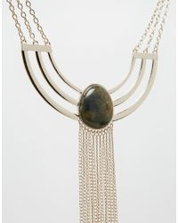 ASOS | Metallic Cage Detail Bib Necklace With Semi Precious Stone | Lyst