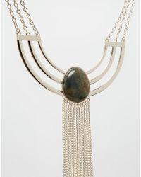 ASOS - Metallic Cage Detail Bib Necklace With Semi Precious Stone - Lyst