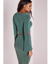 Missguided Wrap Glitter Crop Top Green