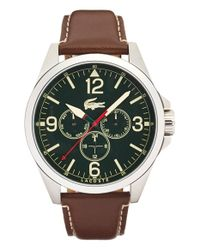Lacoste - Metallic 'montreal' Round Leather Strap Watch for Men - Lyst