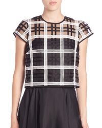 MILLY - Black Cap-sleeve Check Cropped Top - Lyst