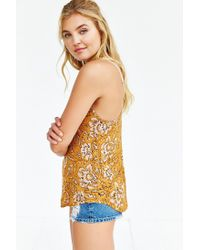 Silence + Noise - Yellow Printed Lina Racerback Tank Top - Lyst