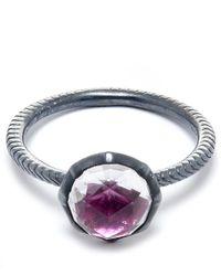 Larkspur & Hawk Metallic Silver Scarlet Stone Bella Stacking Round Ring