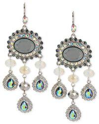 Betsey Johnson - Metallic Silver-Tone Crystal And Bead Chandelier Earrings - Lyst