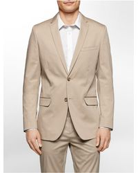 Calvin Klein | Natural Slim Fit Twill Suit Jacket for Men | Lyst