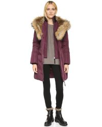 Mackage Blue Akiva Winter Down Coat With Fur Lined Hood In Ink