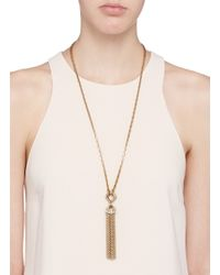 Lulu Frost Metallic 'narcissus' Crystal Tassel Necklace