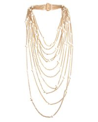 Rosantica - Metallic Chain Pearl Necklace - Lyst