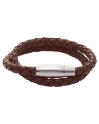 John Lewis | Brown Plaited Leather & Steel Bracelet | Lyst