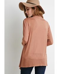 Forever 21 | Brown Open-front Knit Cardigan | Lyst