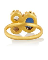 Kevia | Metallic Gold-tone, Crystal And Faux Pearl Ring | Lyst
