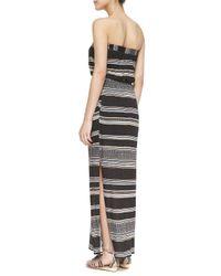 Ella Moss - Black Safari Striped Strapless Maxi Dress - Lyst