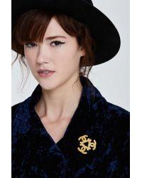 Nasty Gal - Metallic Vintage Chanel Triple Logo Brooch - Lyst