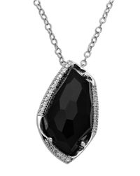 Lord & Taylor Metallic Sterling Silver Black Onyx Diamond Pendant Necklace